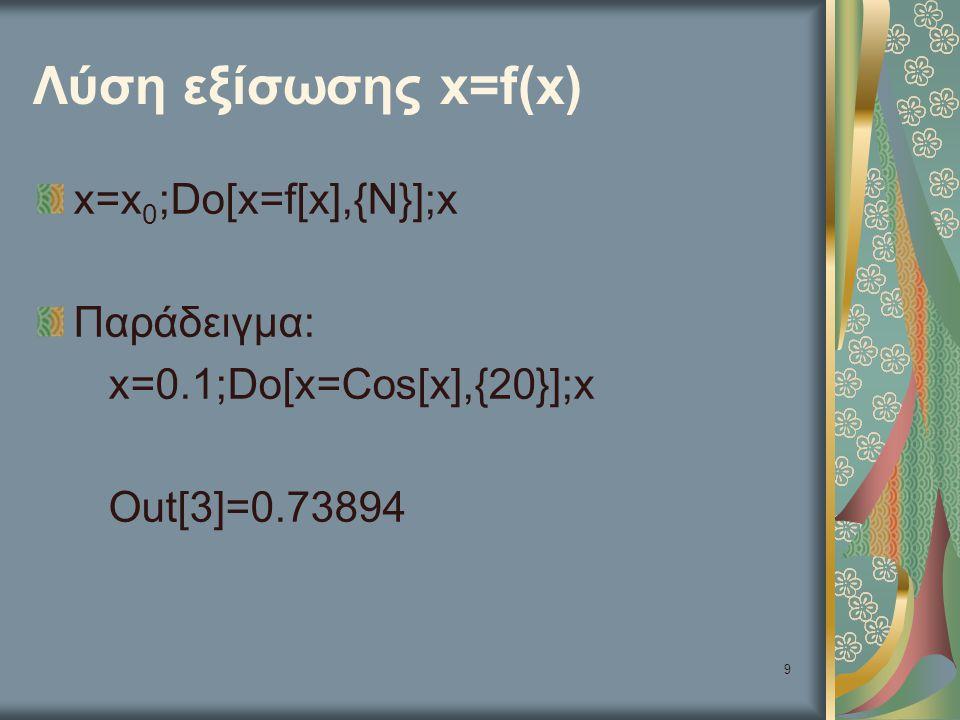 Λύση εξίσωσης x=f(x) x=x0;Do[x=f[x],{N}];x Παράδειγμα: